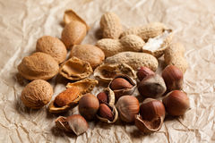 Assorted nuts almond, hazelnut and peanut Stock Images