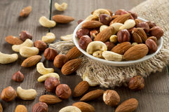 Assorted nuts. (almonds, hazelnuts, cashews, peanuts Stock Image