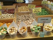 Assorted nuts. Nuts being displayed stock photo