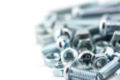 Assorted nuts and bolts Royalty Free Stock Images