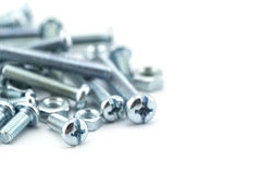 Assorted nuts and bolts closeup Royalty Free Stock Photos