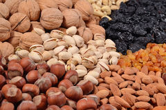 Assorted nuts and dried fruits Royalty Free Stock Image