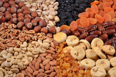 Assorted nuts and dried fruits Stock Images