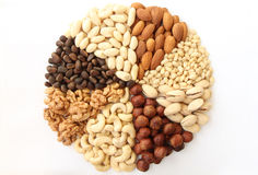 Assorted nuts in the form of a circle. (peanuts, almonds, hazelnuts, pine nuts, cashews, walnuts, pistachio) on a white background Royalty Free Stock Photo
