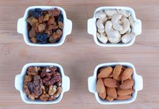 Assorted nuts nine varieties for a background Royalty Free Stock Photography