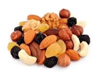 Assorted nuts and raisin closeup . Stock Photos