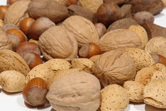 Assorted Nuts on white Royalty Free Stock Photography