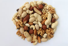 Assorted nuts. On a white background Stock Image