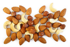 Assorted nuts on a white background Stock Photography