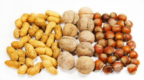 Assorted nuts. On a white background isolated stock image