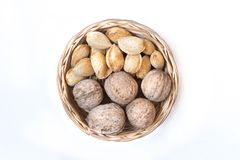 Assorted nuts in wooden bowl Royalty Free Stock Images