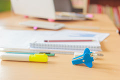 Assorted Office supplies such as  Staple, cutter, pencil. Assorted Office supplies such as  Staple, eraser, cutter, pencil Stock Image