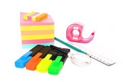 Assorted office supplies on white Stock Photo