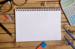 Assorted office supplies Royalty Free Stock Images