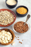 Assorted oil seeds Royalty Free Stock Image