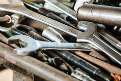 Assorted old hand tools background. Iron wrench spanners. Royalty Free Stock Image