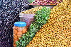 Assorted olives on the arab street market stall Stock Image