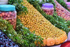 Assorted olives on the arab street market stall.  Royalty Free Stock Photos