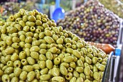 Assorted olives on the arab street market stall Royalty Free Stock Images