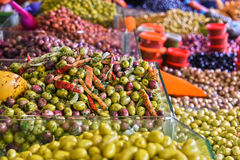 Assorted olives on the arab street market stall Royalty Free Stock Photography