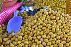 Assorted olives on the arab street market stall Royalty Free Stock Photos