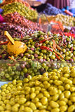 Assorted olives on the arab street market stall Royalty Free Stock Photo