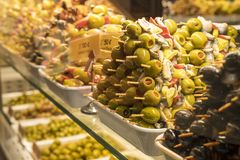 Assorted Olives on Display. In Mercado de San Miguel in Madrid Spain Royalty Free Stock Photo