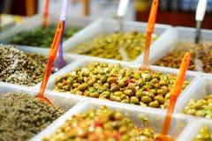 Assorted olives on farmer's market Stock Photos