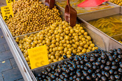 Assorted olives on stall in Jerusalem market Stock Photography