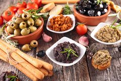 Assorted olives and tapenade Royalty Free Stock Photo