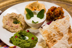 Assorted of oriental food, mezze Royalty Free Stock Images