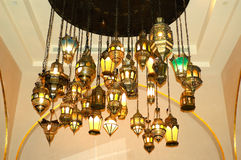 Assorted Oriental lamps in luxury restaurant Royalty Free Stock Images