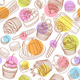 Assorted outlined colorful desserts. Seamless vector pattern with polka dots. Assorted pastel outlined colorful desserts, pastries, sweets, candies, cupcakes Stock Image