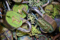 Assorted padlocks and keys Stock Photography