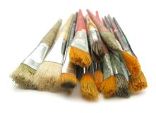 Assorted paint brushes Stock Photo
