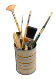 Assorted Paint Brushes In Can. Assorted size and shape paintbrushes, in a metal can Stock Image