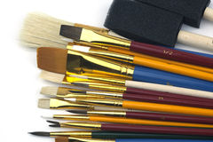 Assorted Paintbrushes in Different Sizes Royalty Free Stock Photography