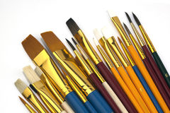 Assorted Paintbrushes in Different Sizes,Isolated. Assorted Paintbrushes in Different Sizes � Isolated on White. Macro Shot Royalty Free Stock Image