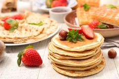 Assorted pancake. Waffle and delicious crepe stock images