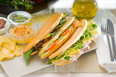 Assorted panini sandwich Stock Photos