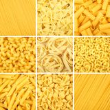 Assorted pasta background collage Stock Image