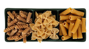 Assorted pasta - isolated over white Royalty Free Stock Photography
