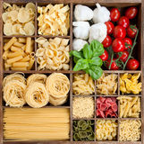 Assorted Pasta in a wooden box Royalty Free Stock Photo