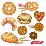 Assorted pastry set illustration with cookies, bread, bagel, croissant, pretzel and burger. Stock Photos