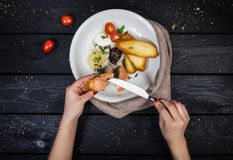 Assorted pates with fried bruschetta. royalty free stock photo
