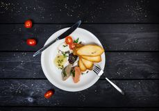 Assorted pates with fried bruschetta. stock images