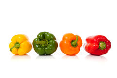 Assorted peppers on white Stock Photo