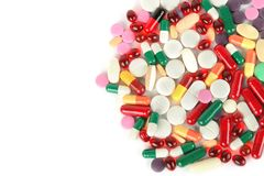 Assorted pharmaceutical medicine pills, tablets and capsules iso Stock Photos