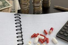 Assorted pharmaceutical pills or capsules, calculator on white blank lined notepad royalty free stock photos