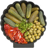 Assorted pickled appetizer Royalty Free Stock Images